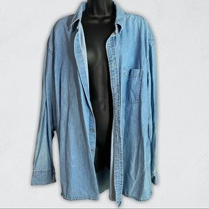 Harriton Vintage Oversized Denim Button Up Shirt